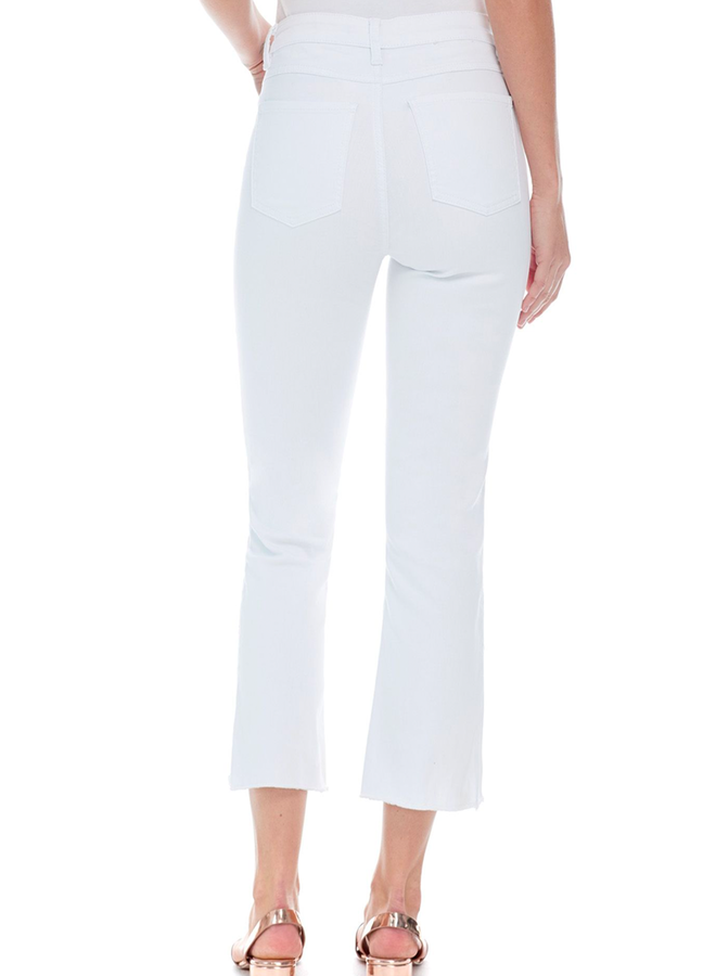 French Dressing Tulip Flare Crop Jean In White
