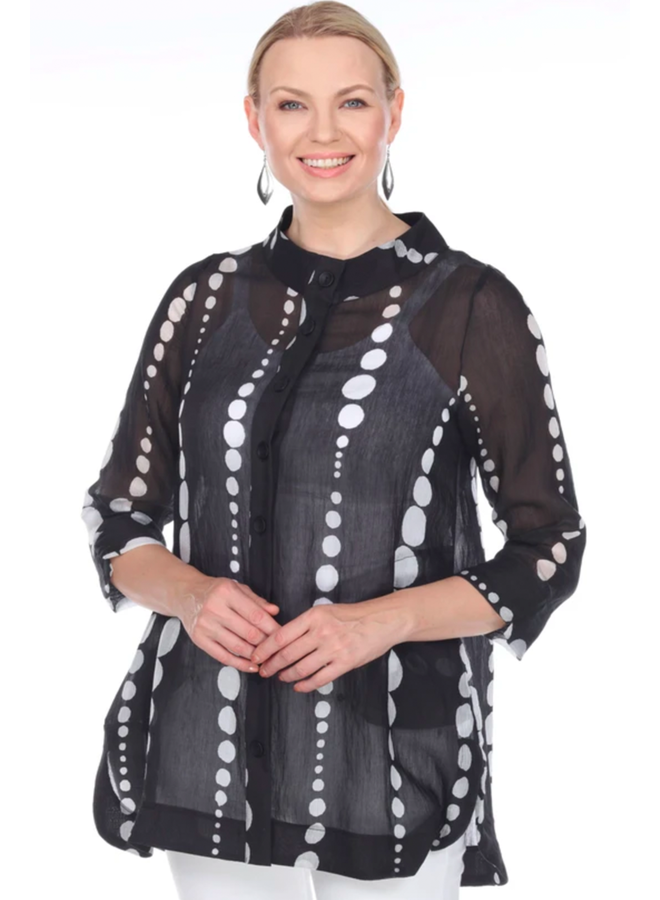 Terra Black With White Bubbles Top