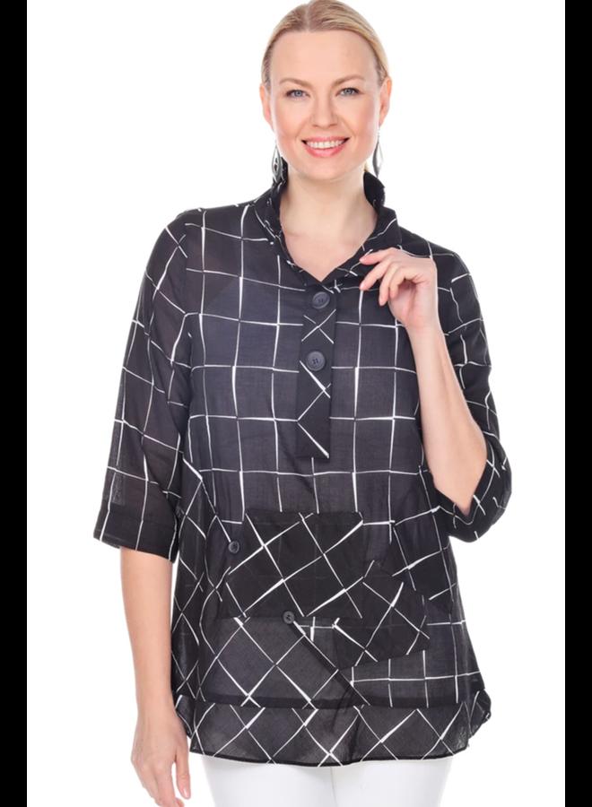 Terra's Black Windowpane Pullover Tunic