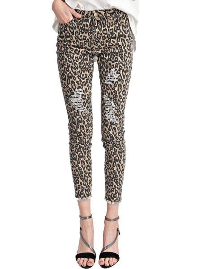 Distressed Ankle Leopard Jean In Browns