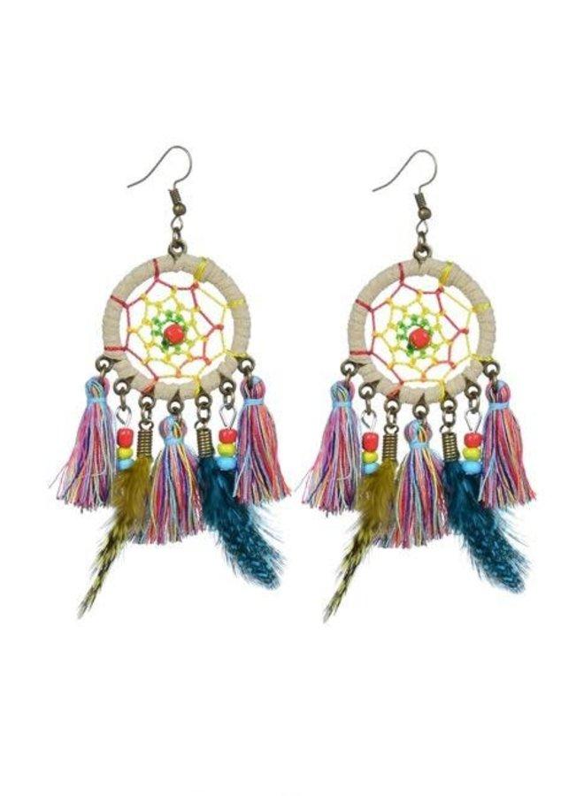 Dream Catcher Earrings In Beige