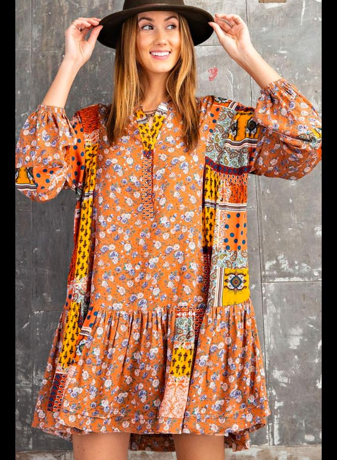 Rust Combo Dress
