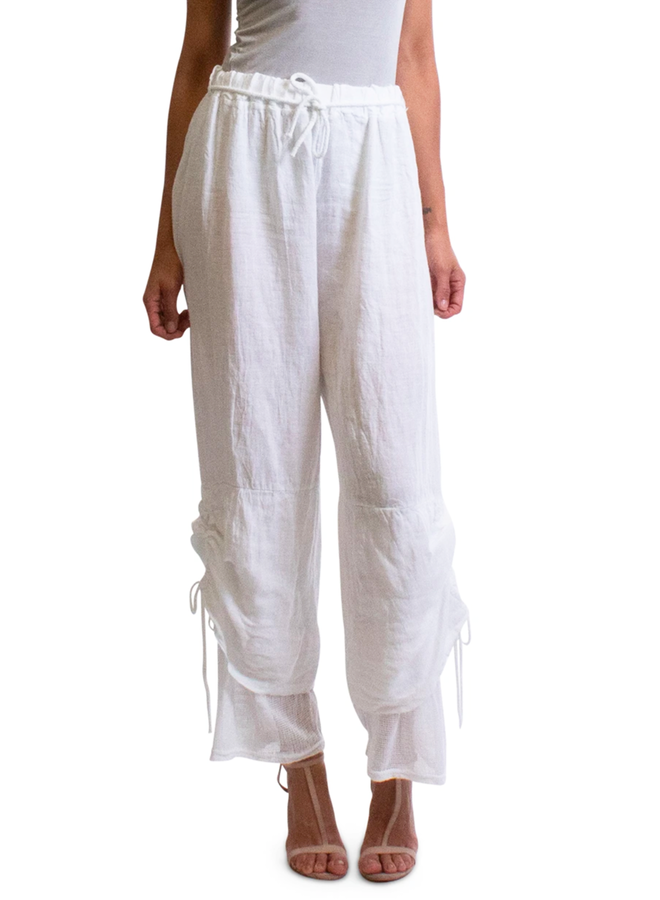 Linen & Net Pant In White