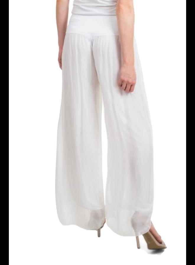 Italian Silk Side Slit Pant In White