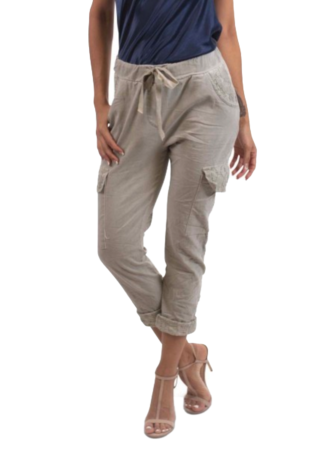 Lace Trim Cargo Pants