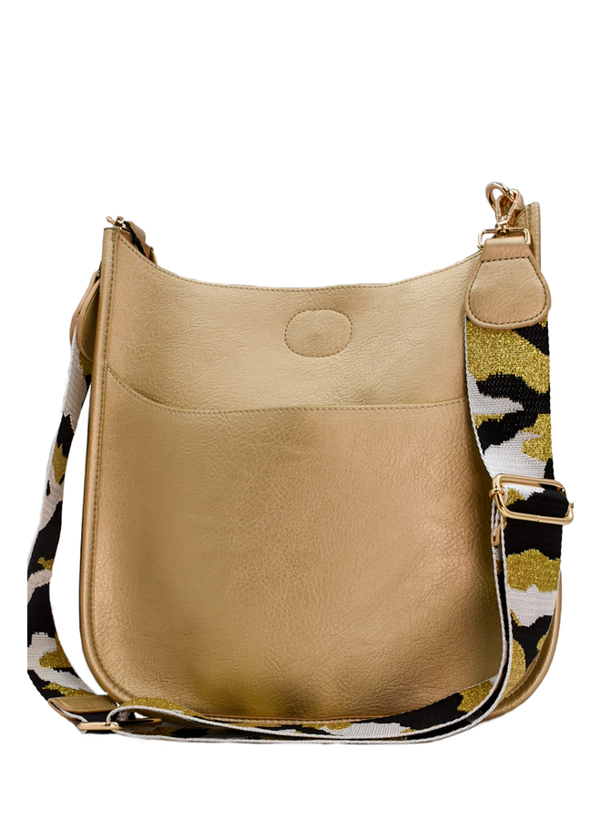 Gold Large Messenger With Gold Camo Strap