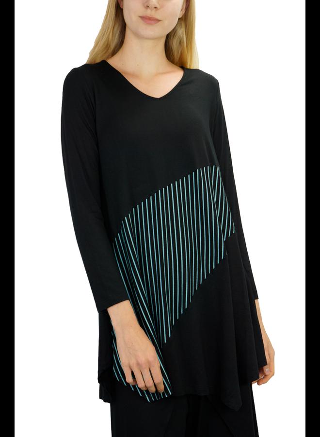 Comfy USA Baltimore Tunic In Black & Jade Stripe
