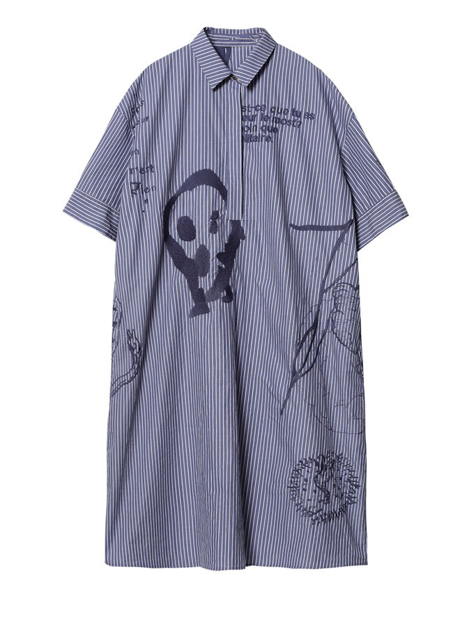 JBNY Navy Embroidered Dress