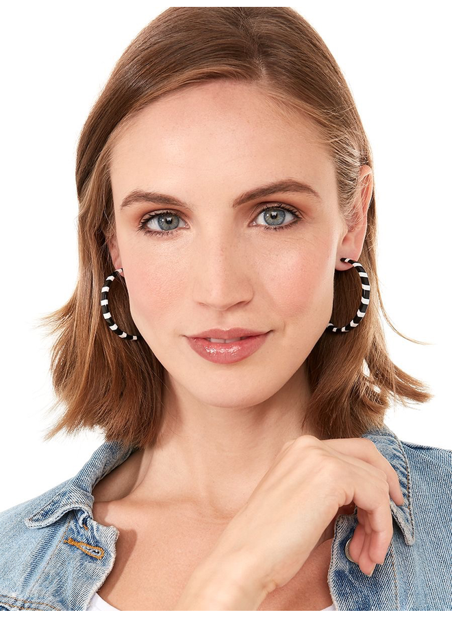 Thin Striped Hoop Earrings