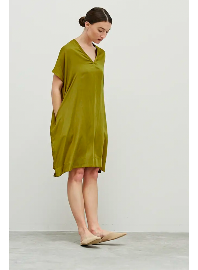 Satin V-Neck Tunic Dress