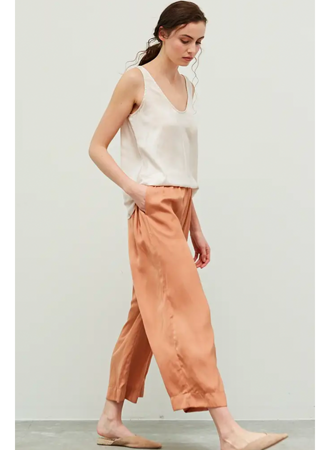 Satin Wide Leg Pants In Apricot