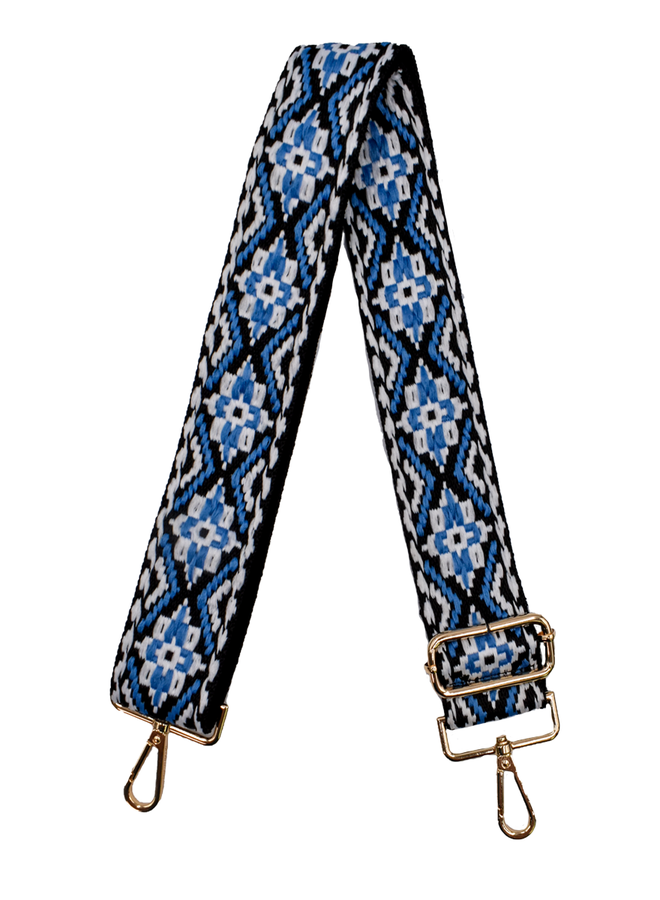 Ahdorned Purse Strap Embroidered Blue & White