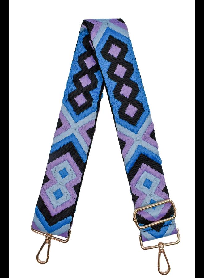 Ahdorned Purse Strap Embroidered Lavender & Blue