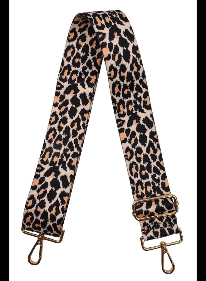 Ahdorned Purse Strap In Tan & Black Cheeta