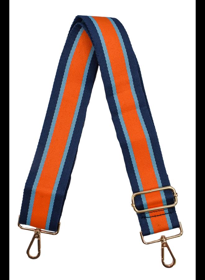 Ahdorned Purse Strap Orange & Blue Stripe