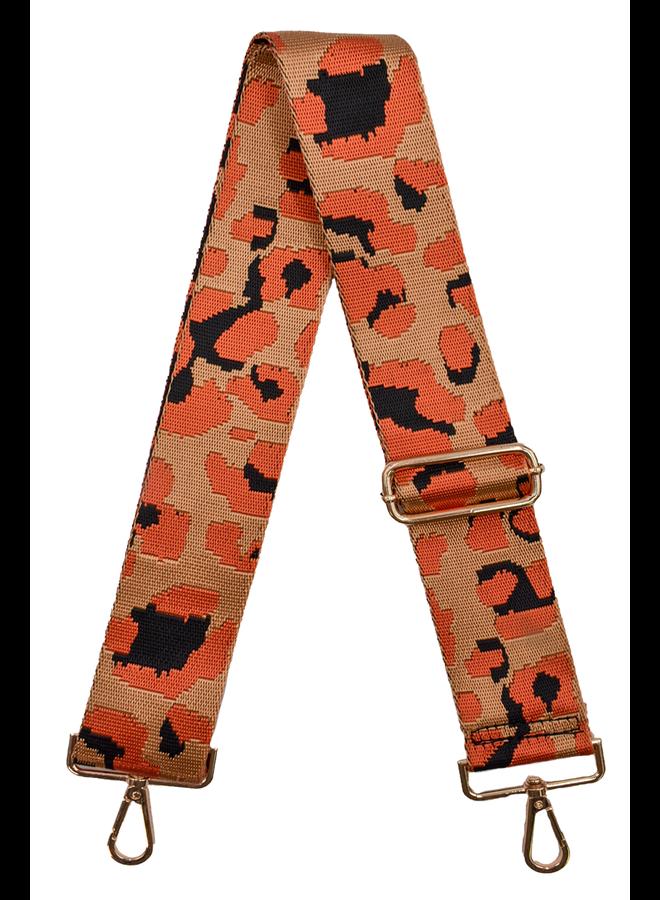 Ahdorned Purse Strap Camel & Orange Leo