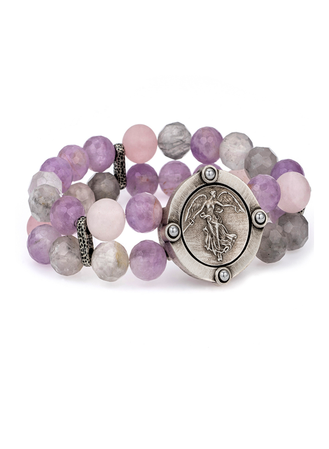 French Kande Double Lavender Bracelet