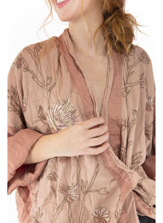Magnolia Pearl Embroidered Lilikoi Kimono