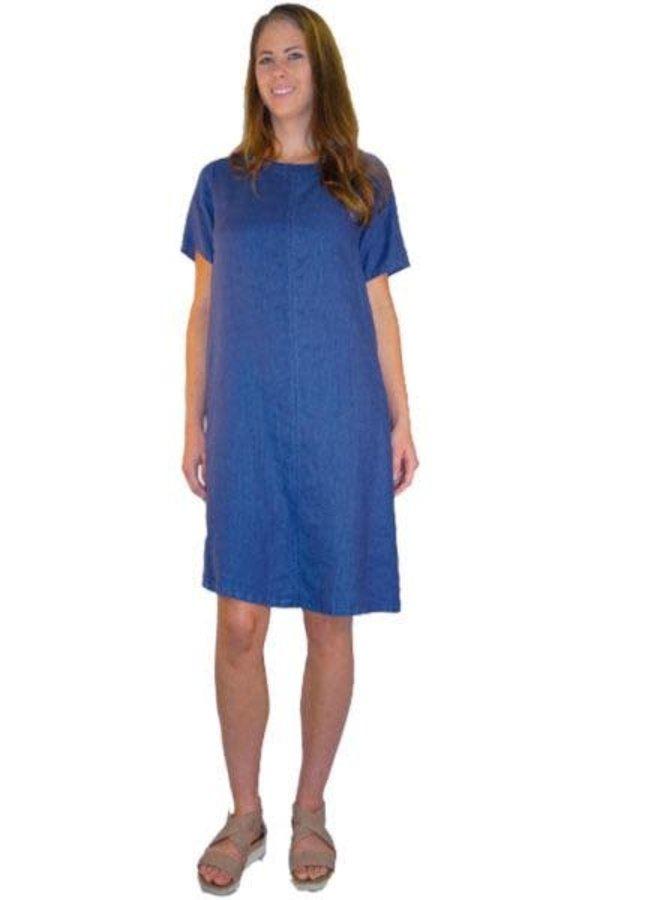 Match Point Easy Linen Dress In Denim