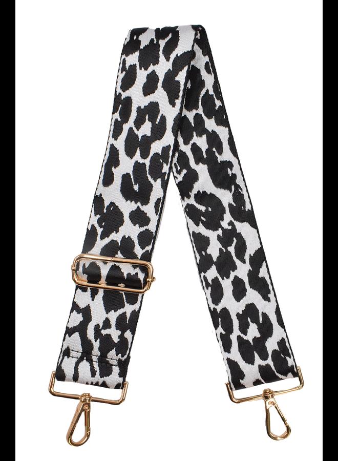 Ahdorned Purse Strap In Black & White Cheeta