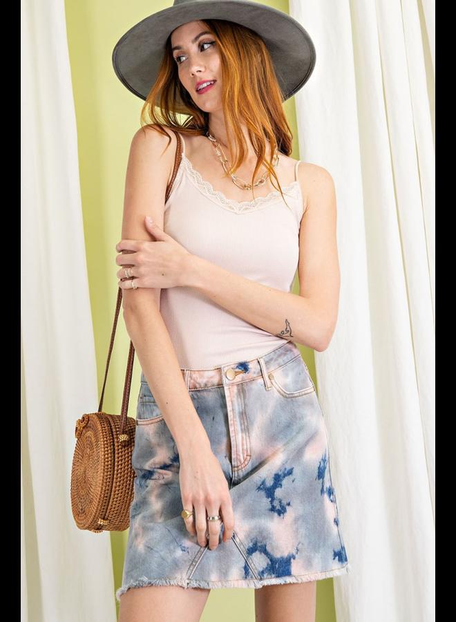Tie Dye Jean Skirt