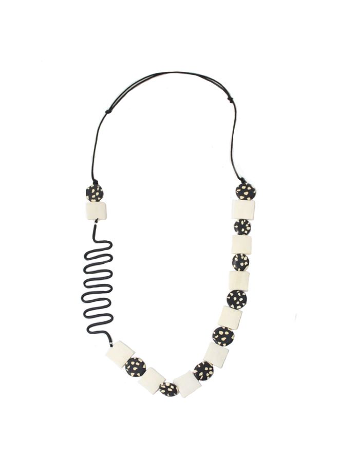 Lainey Necklace In Black & Ivory