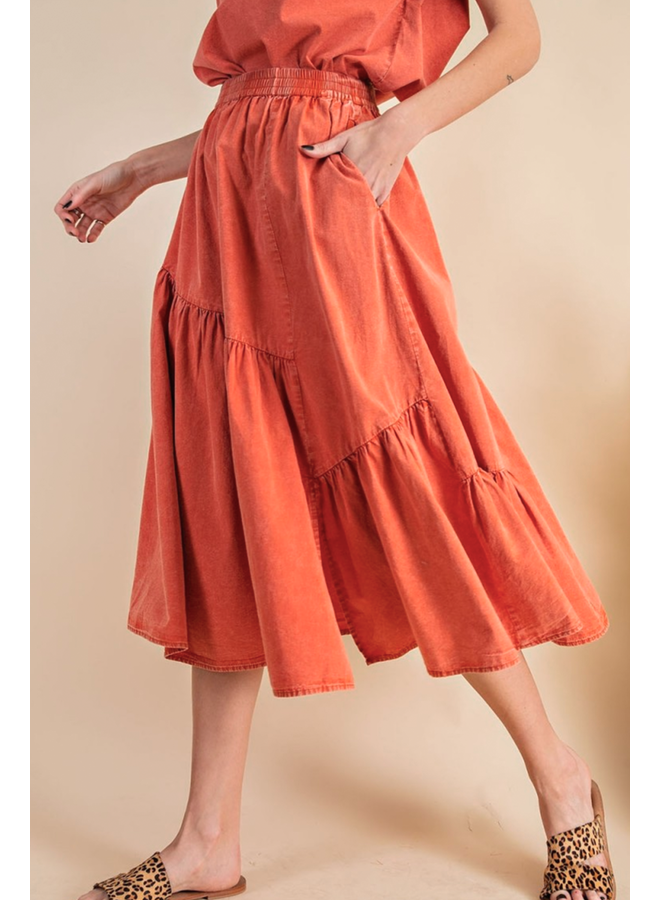 Wear A Skirt In Coral Or Olive