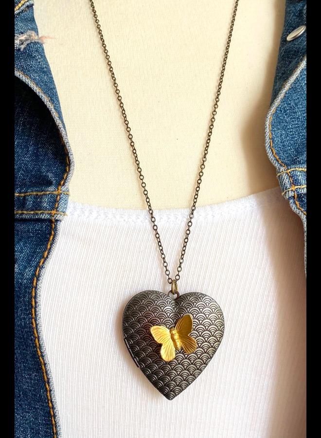 Butterfly Heart Locket