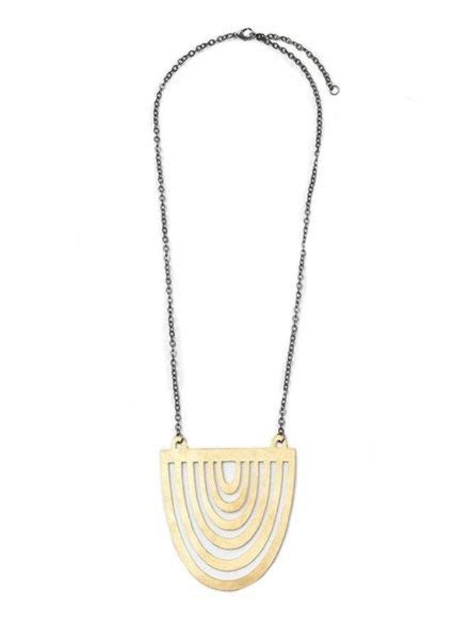 Ink + Alloy Half Sun Brass Necklace