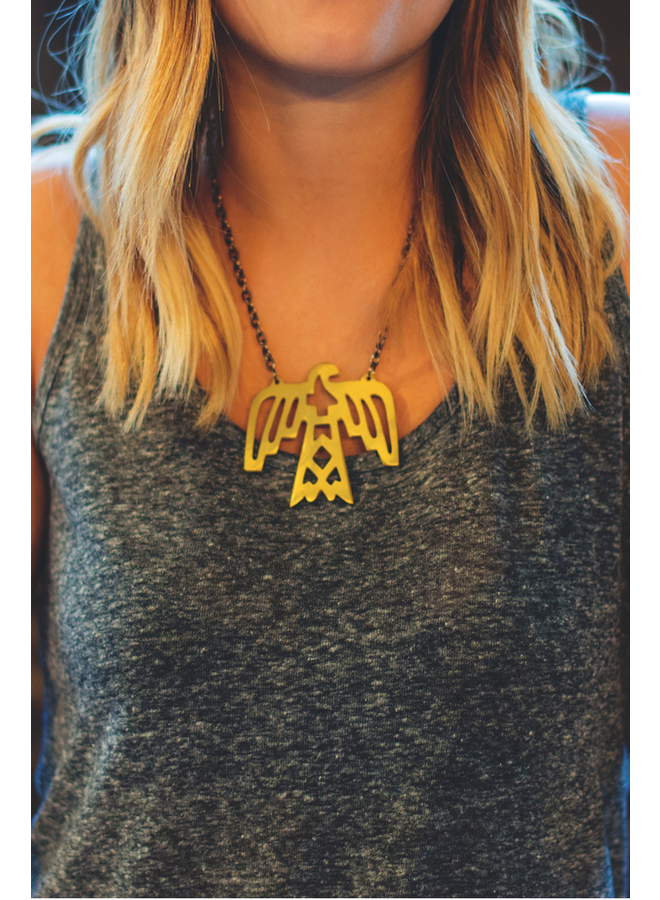 Elohi Brass Thunderbird Necklace