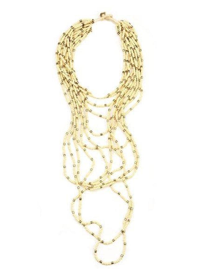 Ink + Alloy Ivory & Gold Multi Strand Necklace