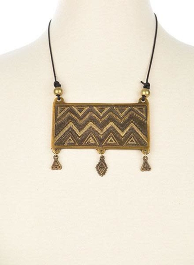 Ink + Alloy Brass Pendant With Fringe