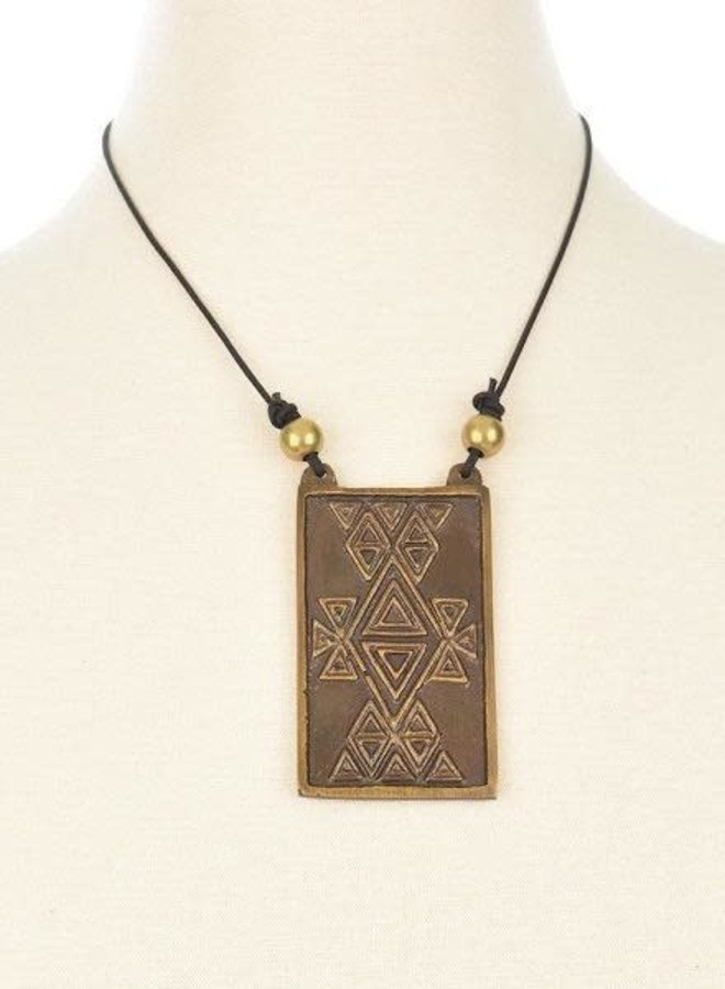Ink + Alloy Brass Pendant On Leather