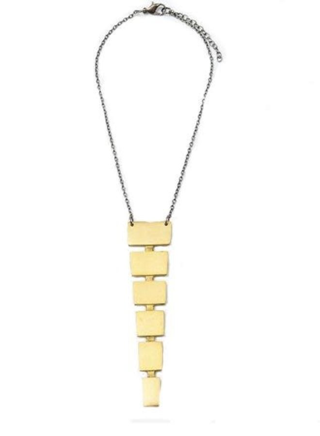 Ink + Alloy's Acending Squares Brass Necklace