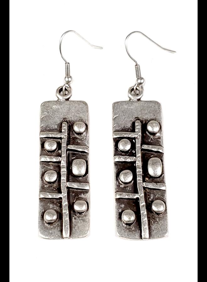Cuneiform  Pewter Earrings