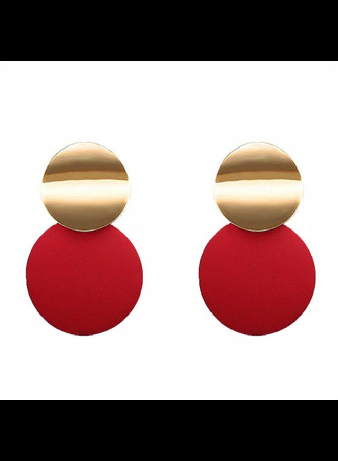 Double Disc Earrings In Red