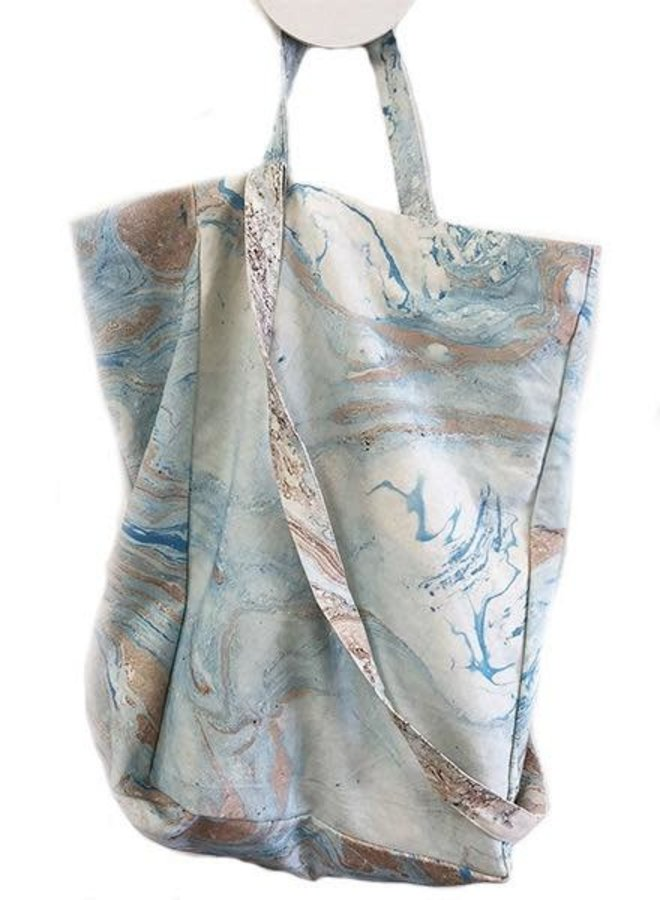 Ink + Alloy Watercolor Tote In Blue & Taupe