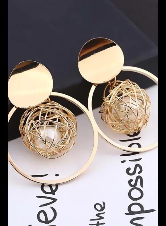 Pearl Nest & Hoop Earrings
