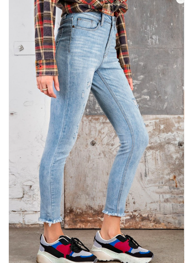 Washed Frayed Hemline Jean