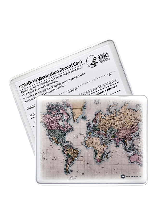 Vaccination World Map Card Holder
