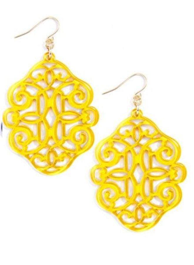 Regal Resin Earrings In Yellow