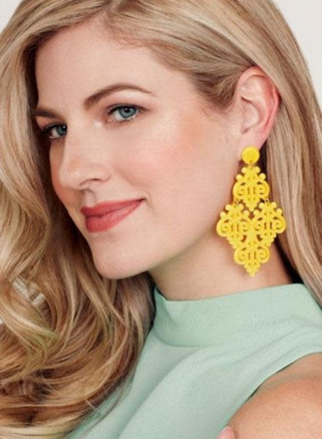 Resin Emblem Statement Earrings In Bright Orange