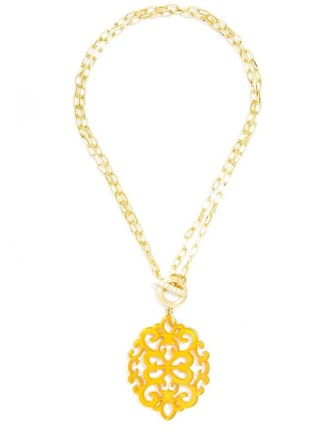 Damask Short/Long Necklace In Honey