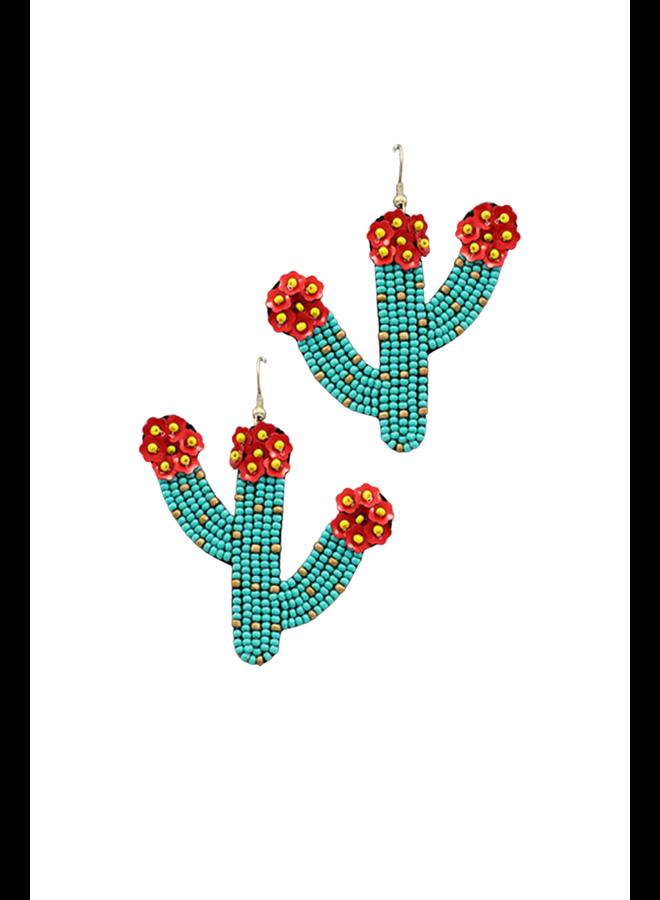 Cactus Beaded Earrings Turquoise