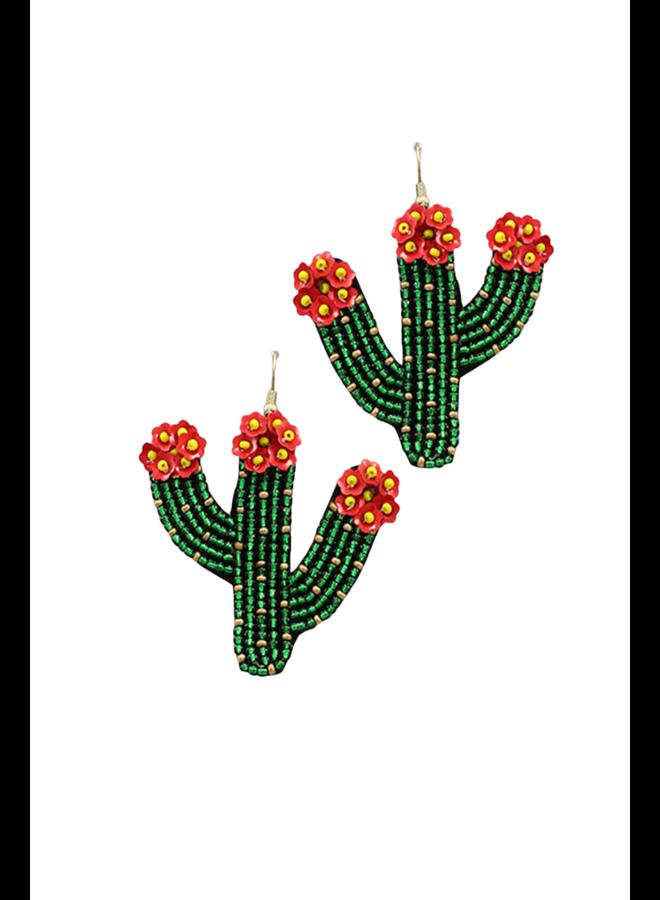 Beaded Catus Earrings Green