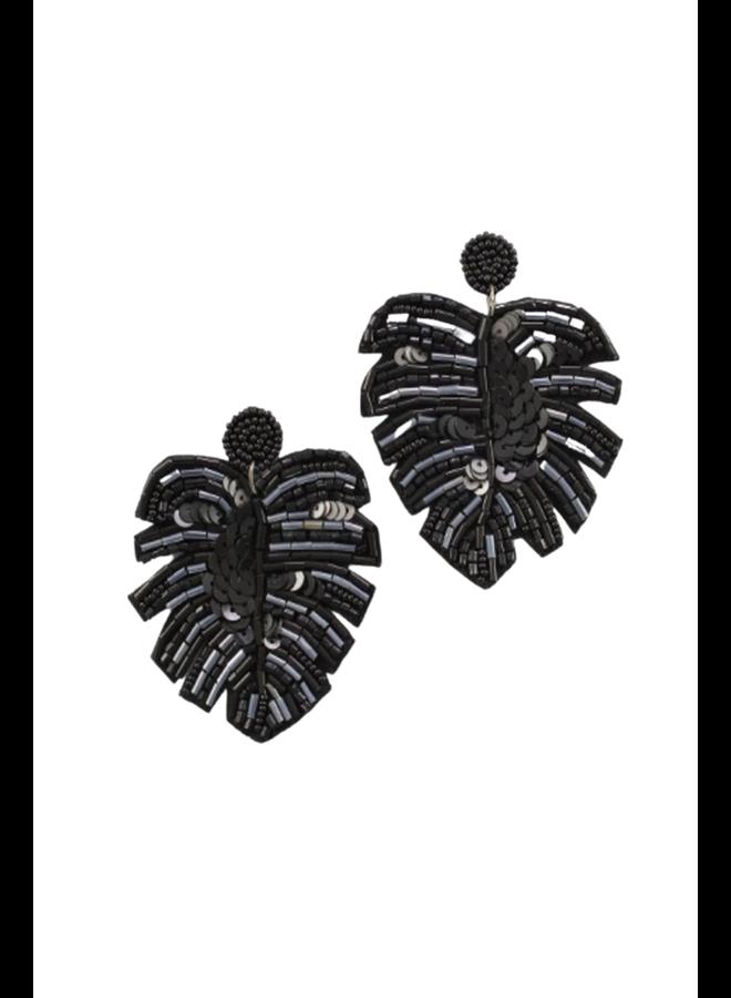 Big Black Tropical Leaf Earrings