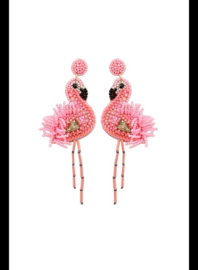 Beaded Pink Flamings Earrings