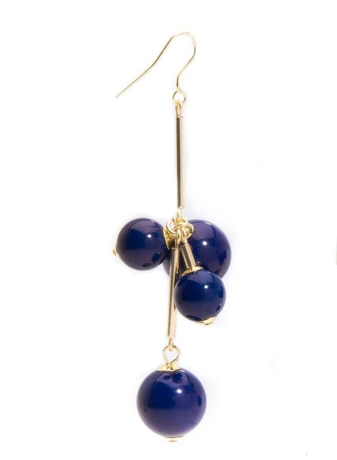Opaque Ball Cluister Earrings In Navy