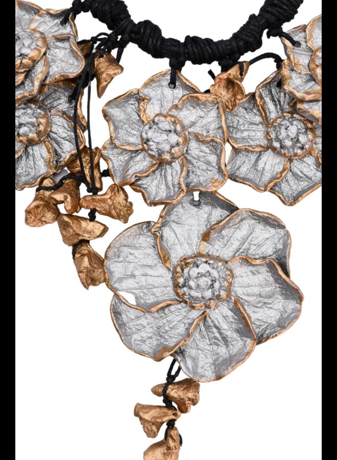 Mache Gold & Silver Flower Necklace