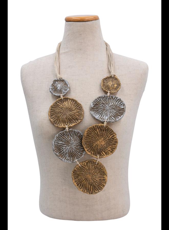 Mache Gold & Silver Disc Necklace